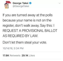 George Takei tweet about provisional ballots
